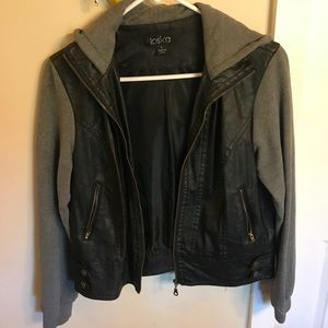 Jackets & Blazers - Leather Hooded Jacket